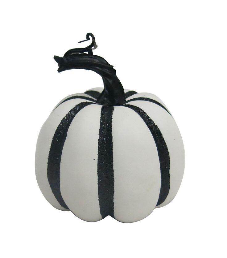 Pumpkin Boutique Halloween Extra Small Pumpkin - White & Black Stripe