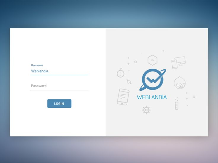 Weblandia login page
