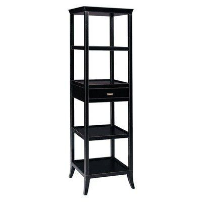 Bay Trading 6040995 Tamara Tower Storage Baker's Rack by Bay Trading. $412.99. 6040995 Features: -Tower.-Top has a graceful curved, removable serving tray.-One drawer and four shelves. Construction: -MDF and Asian hardwood construction. Color/Finish: -Ebony finish. Assembly Instructions: -Assembly required. Dimensions: -Overall dimensions: 72'' H x 20'' W x 20'' D.