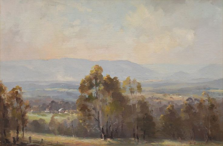 A View of the Valley and Distant Mountains, Oil on canvas board, Albert Ernest Newbury