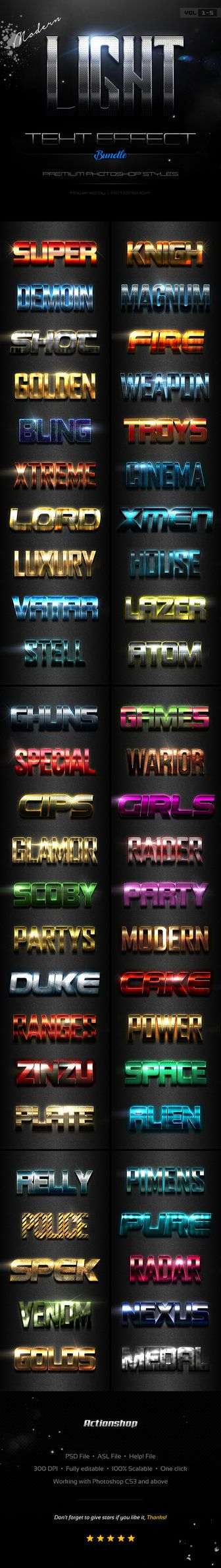 DOWNLOAD:      goo.gl/Xd96NVModern Light Text Effects BundleThis is a premium Adobe Photoshop layer styles. In this set includes source P...