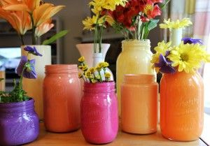 Recycle Old Glass Jars Into Colorful Objets d'Art!: Colorful Objets, Masons, Bottles Vases Cans Glasses, Mason Jars, Glass Jars, Craft Ideas