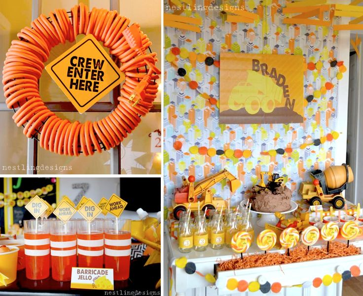 Construction Themed Boy Birthday Party via Karas Party Ideas www.KarasPartyIdeas.com *love the extension cord wreath, barricade jello and stop/slow down freeze dance game idea! also ordered bean bags for tossing into dump trucks or the wheelbarrow!