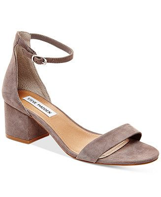 Steve Madden tempers the delicate ankle strap on these Irenee sandals with a chunky, block heel in fashion-forward style.   Suede upper; manmade sole   Imported   Round open-toe ankle-strap dress sand