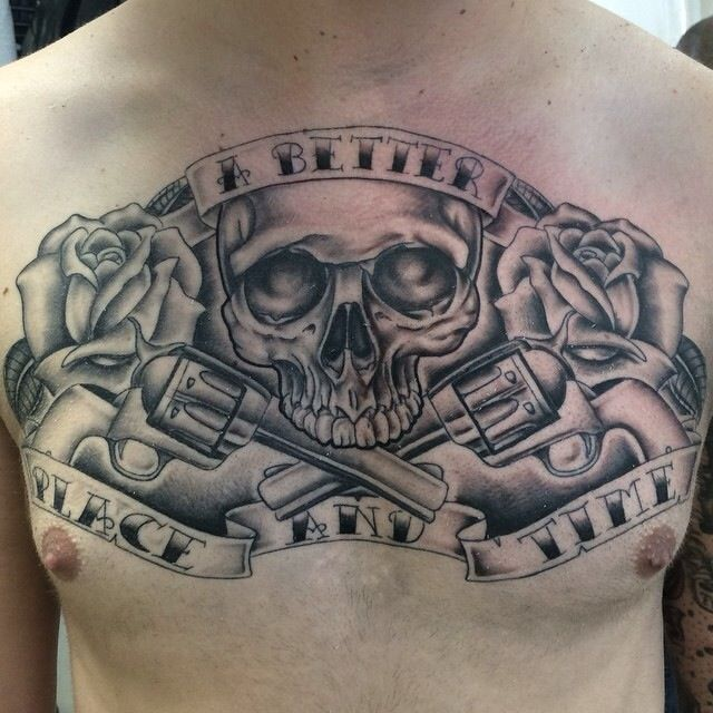 Black and grey chest piece skull guns and roses tattoo by for Tattoo of guns