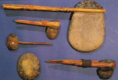 Aboriginal tools- Cutting and chopping tools, such as hatchets, knives and adzes Hunting and fighting equipment, such as clubs, spears and boomerangs   Netting and trapping equipment   Food-processing equipment such as mortars and pestles.Digging sticks and Containers