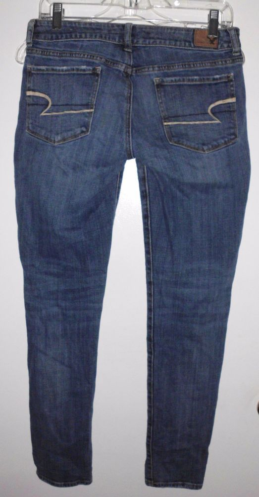 AMERICAN EAGLE OUTFITTERS Distressed Skinny Stretch Blue Denim Jeans Sz 6 #AmericanEagleOutfitters #Skinny