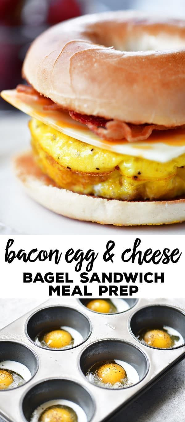 This Bacon Egg Cheese Bagel Sandwich meal prep recipe give you breakfast for the week! Bake muffin tin scrambled eggs and store them in the fridge. For breakfast, warm the baked scrambled eggs in the microwave, add to a toasted bagel with cheese and bacon. #mealprep #breakfast #muffintineggs