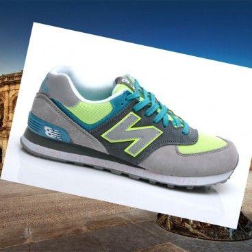 New Balance 574 in pelle Scamosciata - Uomo Classicoi scarpe di permazione - lupo grigio/scuro grigio/neon verde-volt/turchese Compra Italia 2015