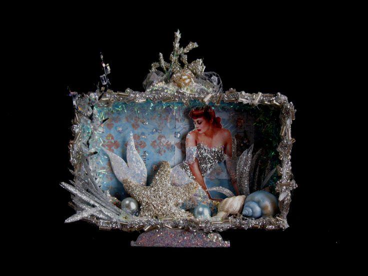 Mermaid Altered Art Shadow Box Tin Vintage Ice Princess