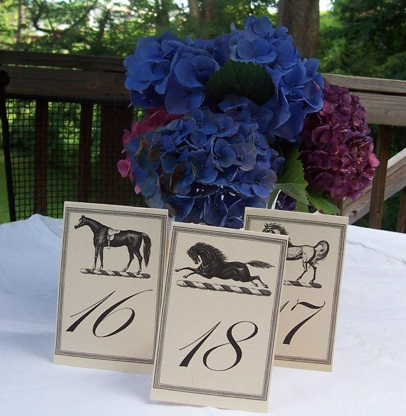 Equestrian 3 Horse Wedding Table Number Large Cards by HappyHound, $27.00 I like the numbers and the flowers too