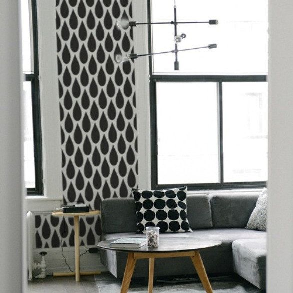 TEARDROP Wall Furniture Stencil Modern Raindrop Top Edging Single Layer
