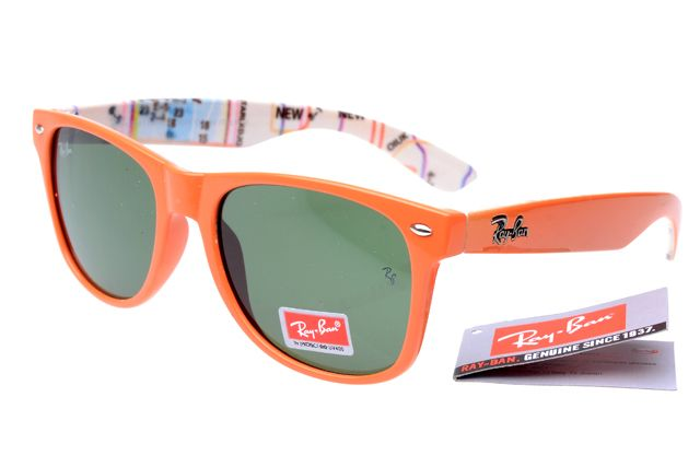 Discount Ray Ban Wayfarer Sunglasses Orange/Pattern Frame Green Lens ANY  Sale
