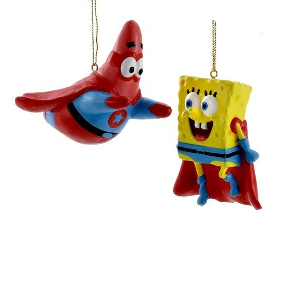 SpongeBob SquarePants and Patrick Star Superhero 1 Set 2 Assorted Christmas Ornaments