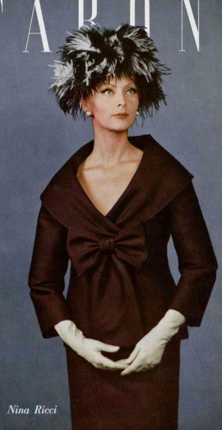 1959  - Nina Ricci suit 50s 60s brown red suit burgundy jacket skirt hat gloves model magazine photo print ad vintage fashion