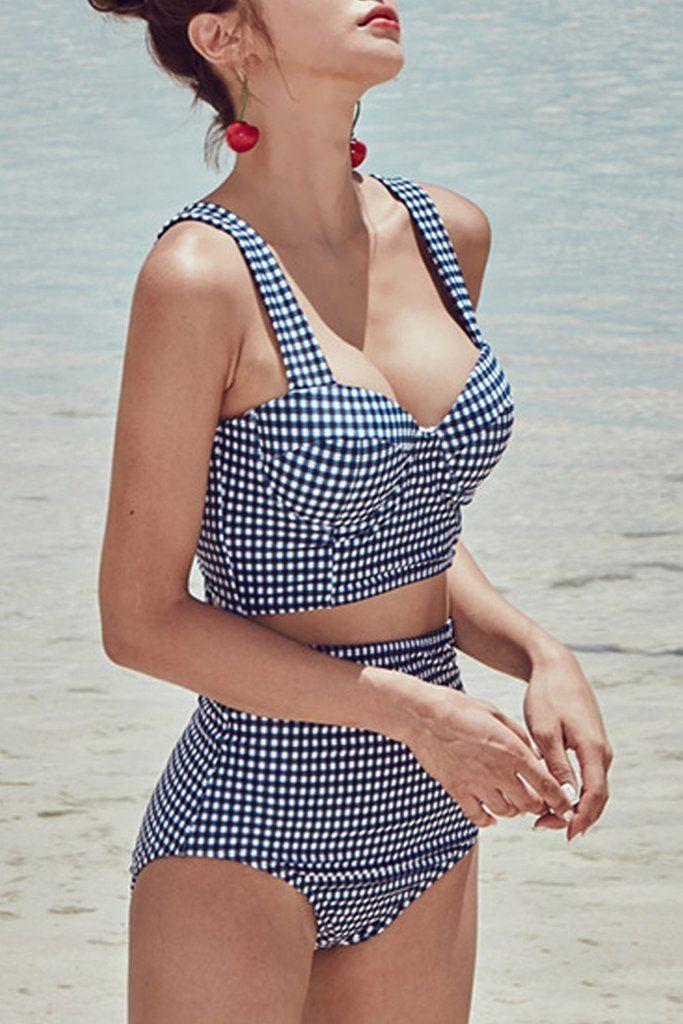 Iyasson Vintage Plaid High-waisted fit Bikini Sets