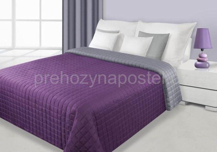 Oboustranné přehozy na postel fialovo stříbrné barvy
