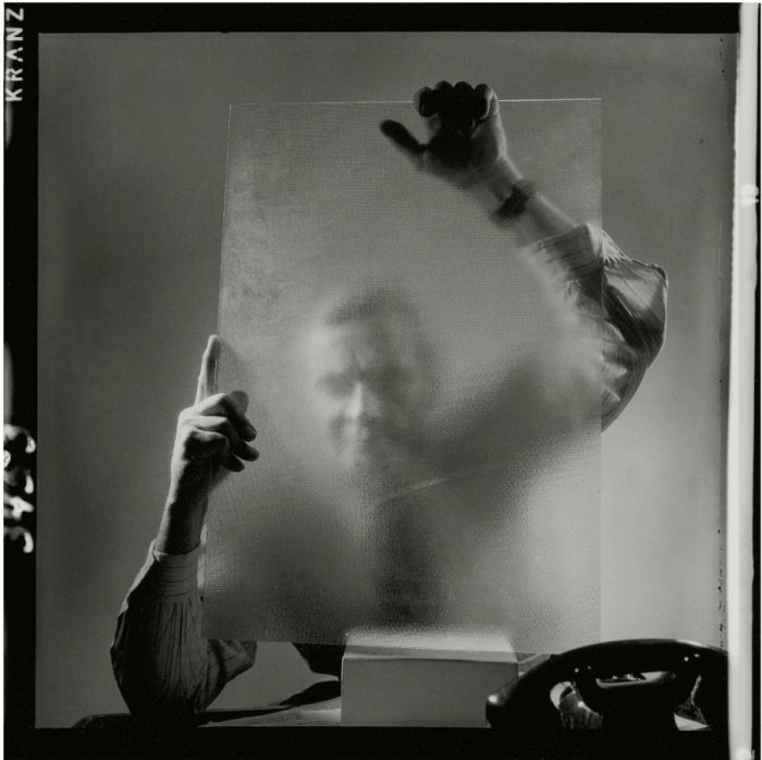 Heinz Hajek-Halke (1898-1983) :: Self portrait behind glass