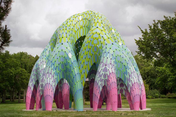 MARC FORNES/THEVERYMANY fabricates vaulted willow pavilion in edmonton - designboom | architecture