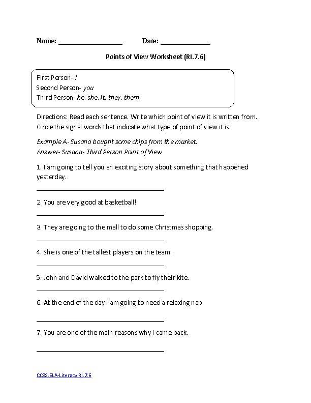 Points Of View Worksheet ELA Literacy RI 7 6 Reading