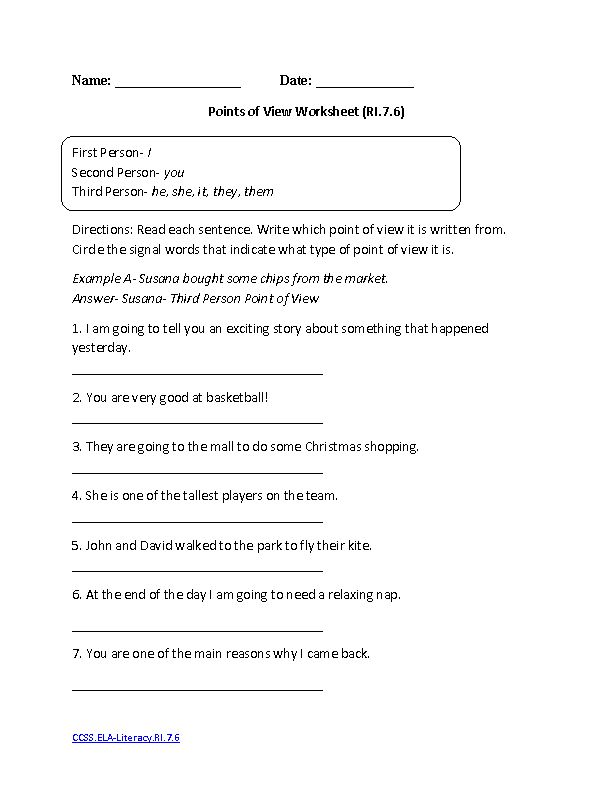 Point Of View Worksheets Middle School Free Worksheets Library – Point of View Worksheets Middle School