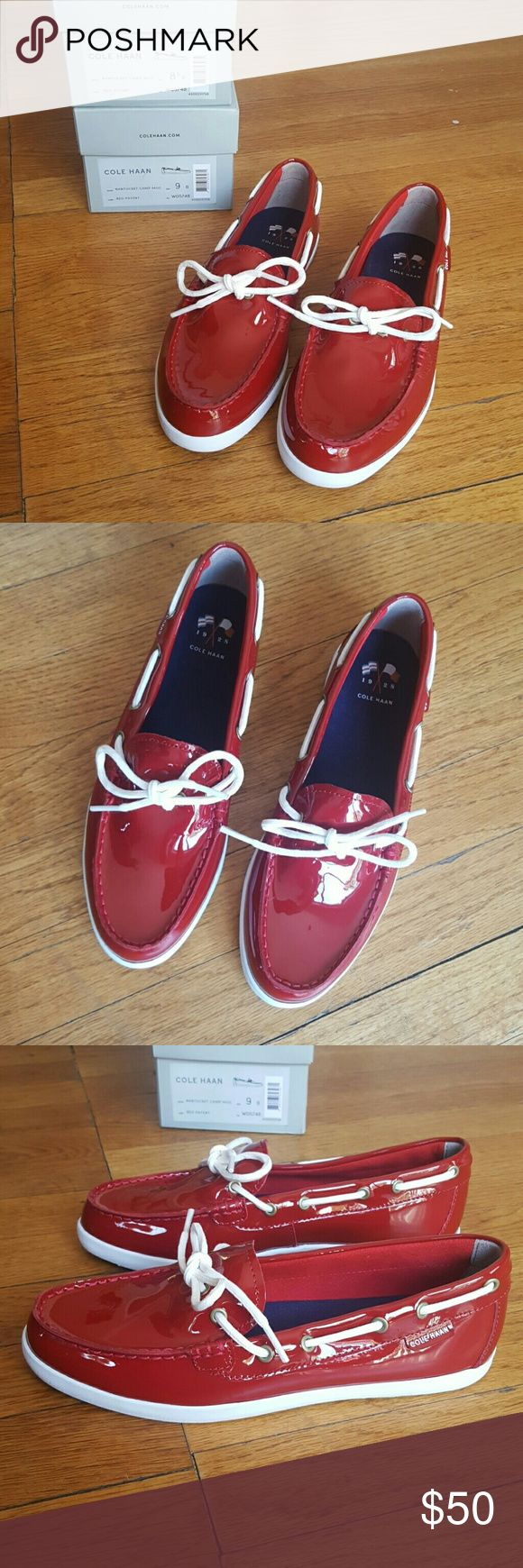 NEW COLE HAAN PINCH NANTUCKET CAMP MOC COLE HAAN PINCH NANTUCKET CAMP MOC RED PATENT  NEW WITH BOX NWB WOMENS SHOES FLATS MOCS DRIVERS Size 8 8.5 and 9 Cole Haan Shoes Moccasins