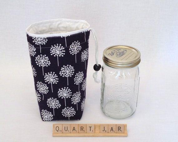 CiJ Sale - Jars to Go Single - quart size Mason Jar Bag navy blue white drawstring bag ChristmasinJuly on Etsy, $13.50