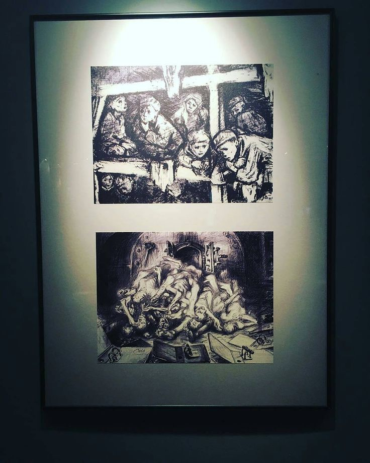 --- Photo by @zoekingo --- Auschwitz I.  Block 14. Russian exhibition. Drawings by Zinovij Tolkachev who was an official artist of the Soviet army and who was one of the soldiers who liberated Auschwitz on January 27 1945. After the liberation he made many drawings depicting the horrible situation of the survivors.