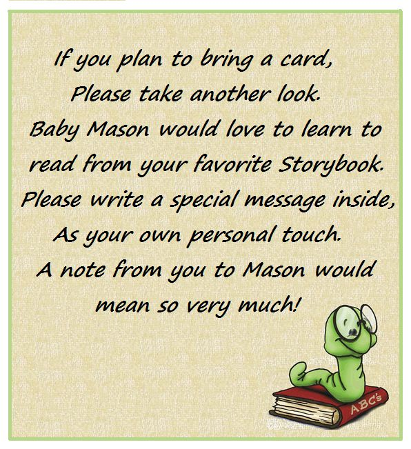 Bring A Book Baby Shower Invitation Note. @brady Mathews Leigh
