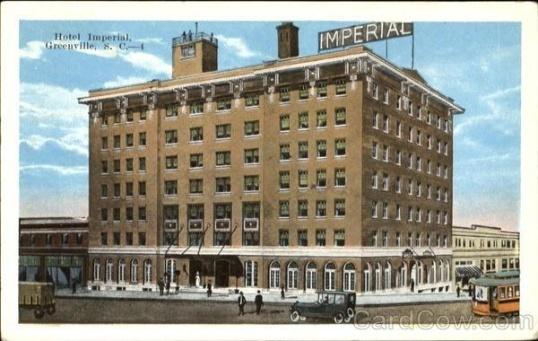 vintage greenville sc hotel imperial history. Black Bedroom Furniture Sets. Home Design Ideas