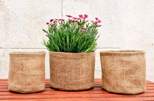 RETRO JUTE POT Hessian Sack Round Burlap Planter Garden