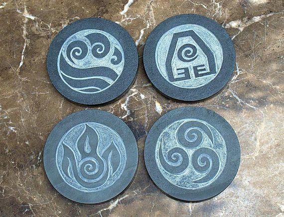 Stone coaster natural Slate hand carved Four Element symbols