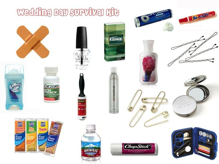 Wedding Day Survival Kit - band-aid, clear polish, tissue, candy, safety pins, bobby pins, mirror, sewing kit, lip balm, water, food