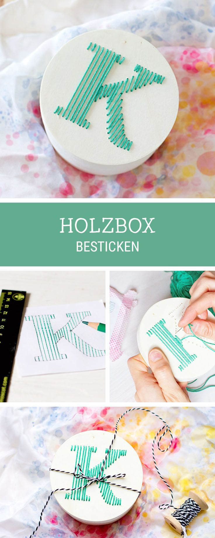 DIY-Anleitung für bestickte Holzboxen, Stickanleitung für Buchstaben / diy inspiration for wooden boxes decorated with stitched letters, embroidery inspiration via DaWanda.com