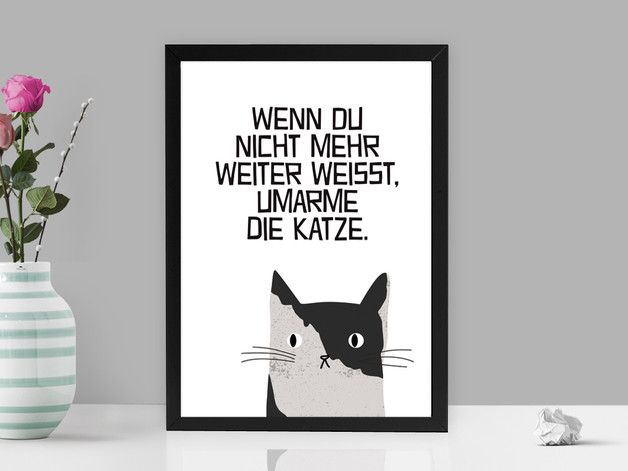 Süßes Katzenbild mit lustigem Spruch / cute cat picture with funny saying by PrintsEisenherz via DaWanda.com