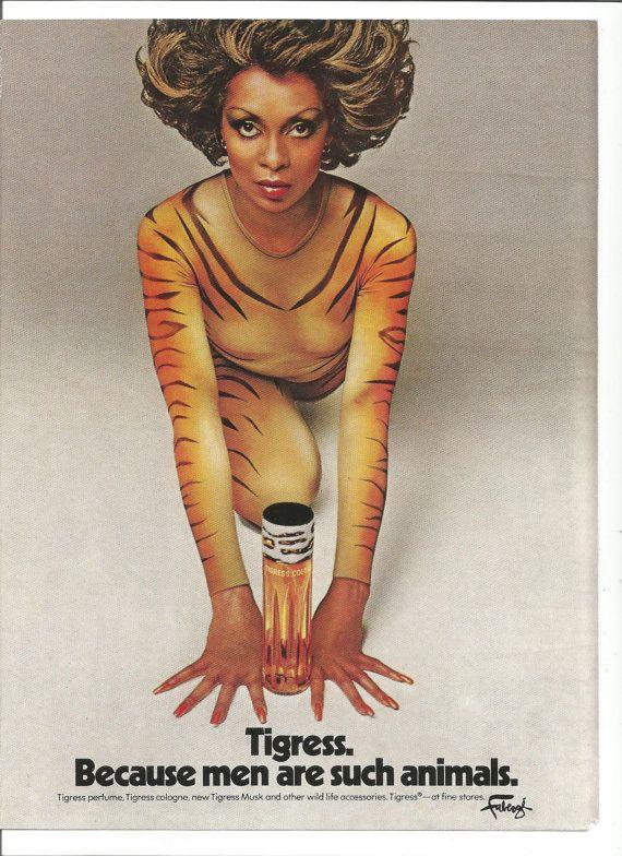 1975 Advertisement Lola Falana for Tigress Perfume Faberge Celebrity Entertainer Singer Tiger Suit Beautiful Woman 70s Wall Art Decor