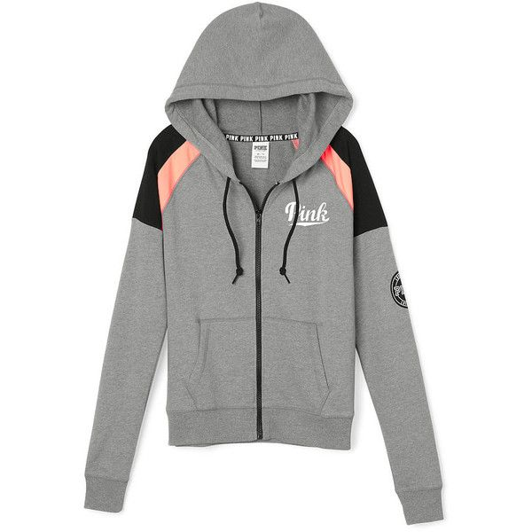PINK Perfect Full-Zip Hoodie ($55) ❤ liked on Polyvore featuring tops, hoodies, pink, pink full zip hoodie, green hooded sweatshirt, graphic hoodies, full zip hoodie and full zip hooded sweatshirt