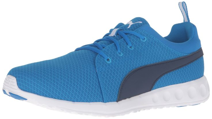 PUMA Men's Carson Mesh Running Shoe, Electric Blue Lemonade, 10.5 M US. Cushioned running shoe with mesh upper featuring Formstrip at each side. Pull-on loop at opening. EVA midsole for cushioning.