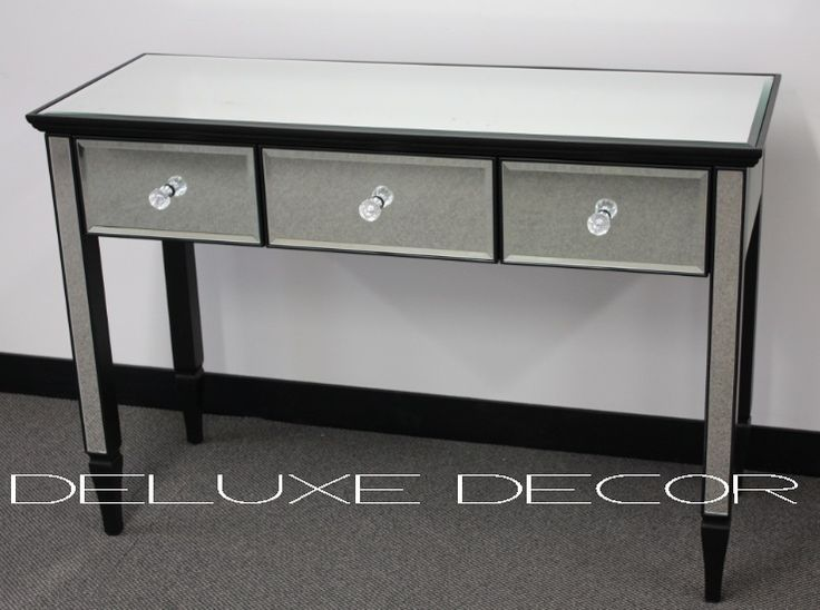 Clair Black Edge Silver Mirrored 3 Drawer Console Dressing Table 2303B http://deluxedecor.com.au/products-page/clair-collection/clair-black-edge-silver-mirrored-3-drawer-console-dressing-table-2303b/