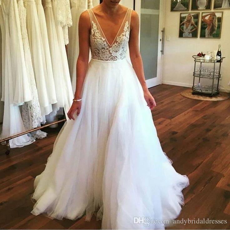 2019 Deep V-neck Bohemian Wedding Dresses Sheer Lace Appliques Floor-length Tulle Plus Size Custom Made Summer Boho Wedding Dresses