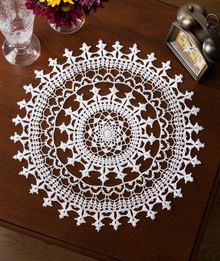Affinity Doily ~ If you have an affinity for fine lacy doilies, you will love creating this beauty!  Red Heart Pattern