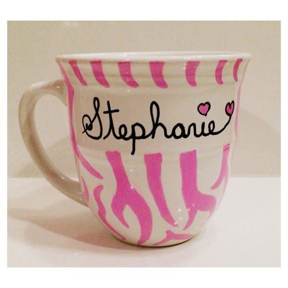 Personalized Pink Zebra Print Mug by PaintUsCrafty on Etsy, $14.00 #handpaintedmugs #giftideas #animalprintmug