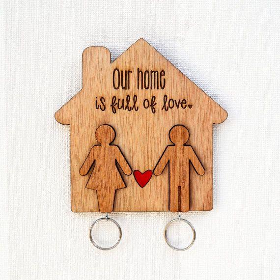 Wooden Key Holder people key chains laser by MissBoldDesign