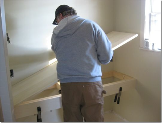 Building floating bathroom vanity woodworking projects for Diy floating vanity sink