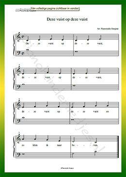 Deze vuist op deze vuist - Gratis bladmuziek van kinderliedjes in eenvoudige zetting voor piano. Piano leren spelen met bekende liedjes.