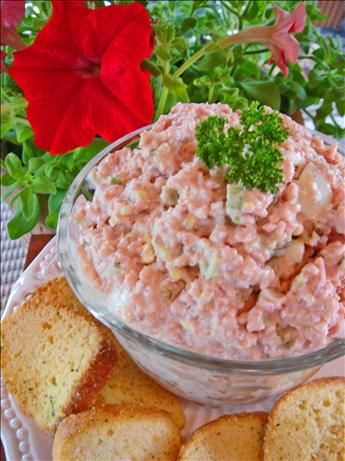 Cold Ham Salad Sandwich Spread (Or Appetizer)  I have to tell you, ham salad is one of my childhood favorites.  We always bought it at a particular grocery store in Ft. Wayne, Indiana.  I would eat it grilled like a grilled cheese...so yummy!  Can't wait to try this!