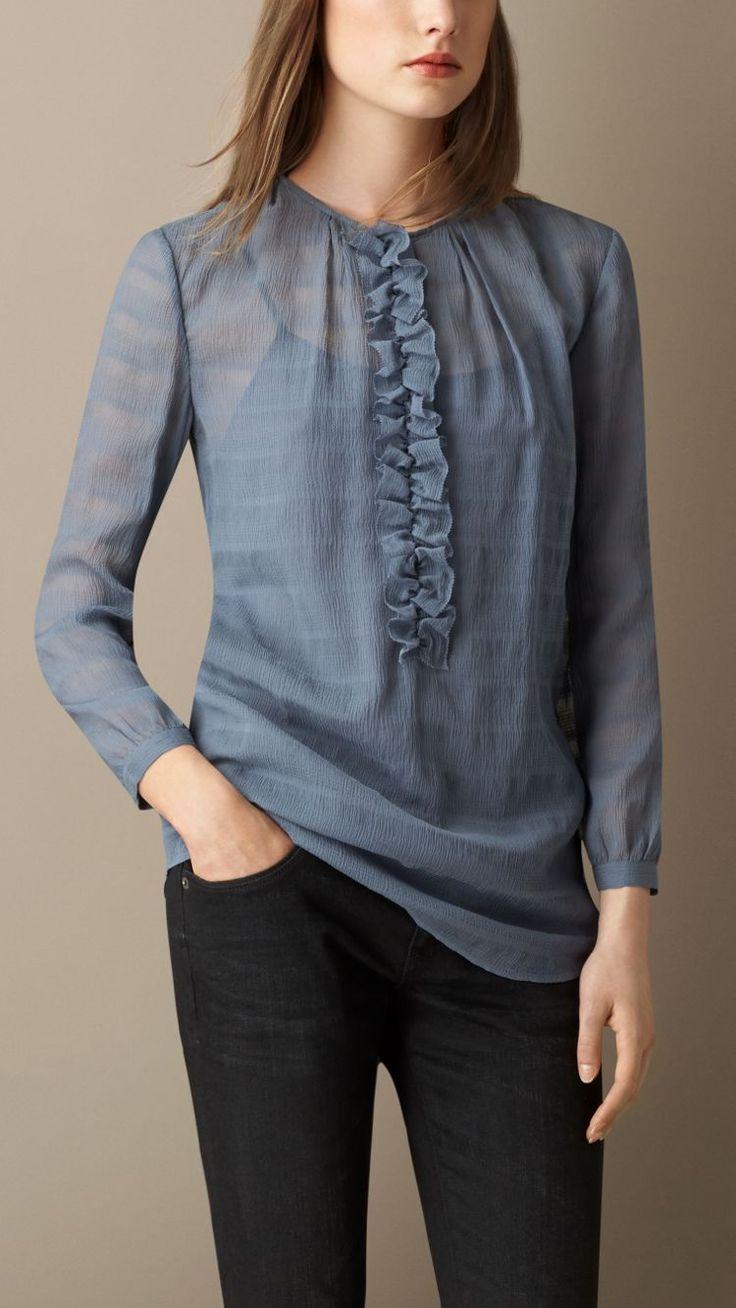 Silk Seersucker Detail Shirt-Burberry