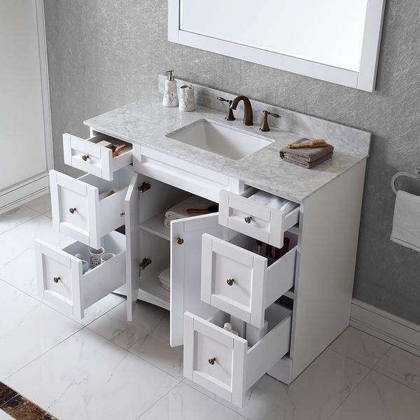 Virtu USA Elise 48 Inch Single Sink White Vanity With Carrara White Marble  Countertop With Backsplash