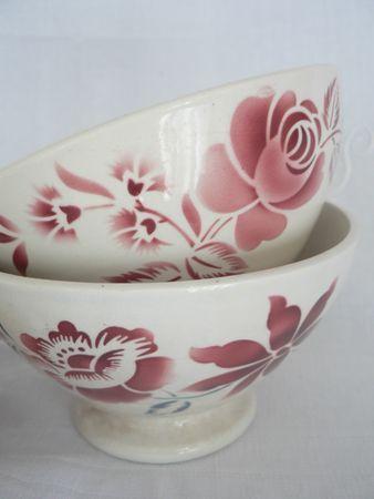 Bols à café      (décor fleur de Digoin