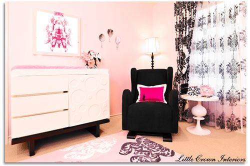 Baby girl nursery ideas - Pink, Hot Pink and Black Nursery. Chic and cute!